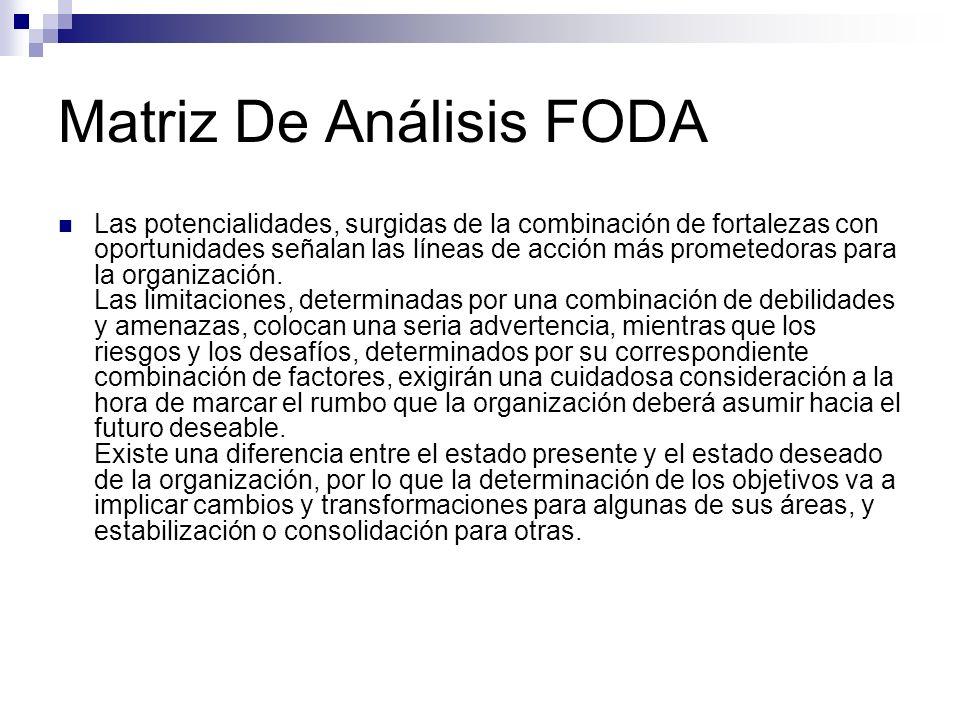 Matriz De Análisis FODA Las potencialidades, surgidas de la combinación de fortalezas con oportunidades señalan las líneas de acción más prometedoras