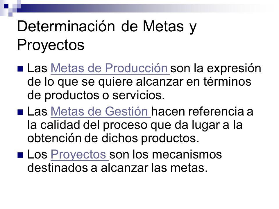 Determinación de Metas y Proyectos Las Metas de Producción son la expresión de lo que se quiere alcanzar en términos de productos o servicios.Metas de