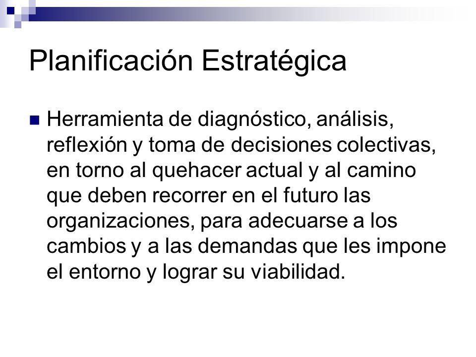 Planificación Estratégica Herramienta de diagnóstico, análisis, reflexión y toma de decisiones colectivas, en torno al quehacer actual y al camino que