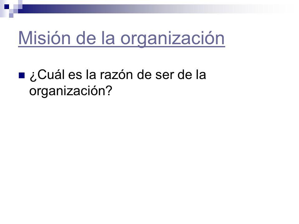 Misión de la organización ¿Cuál es la razón de ser de la organización?