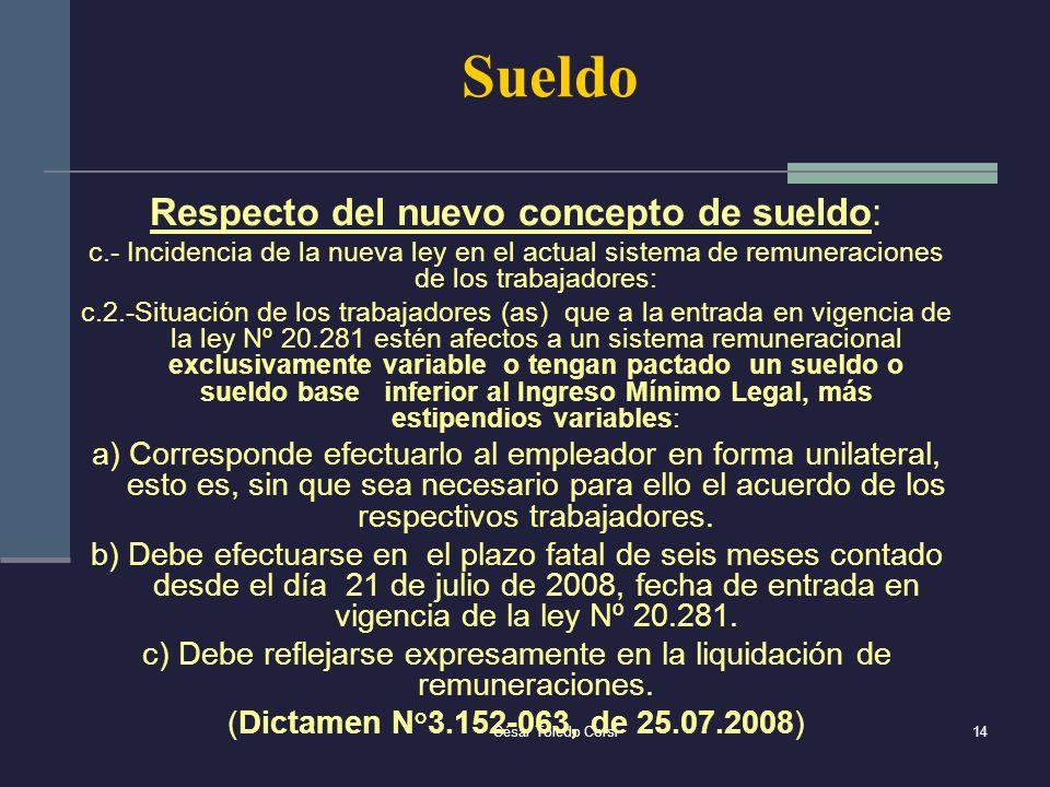 César Toledo Corsi14 Sueldo Respecto del nuevo concepto de sueldo: c.- Incidencia de la nueva ley en el actual sistema de remuneraciones de los trabaj