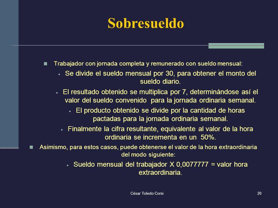 César Toledo Corsi20 Sobresueldo Trabajador con jornada completa y remunerado con sueldo mensual: Se divide el sueldo mensual por 30, para obtener el