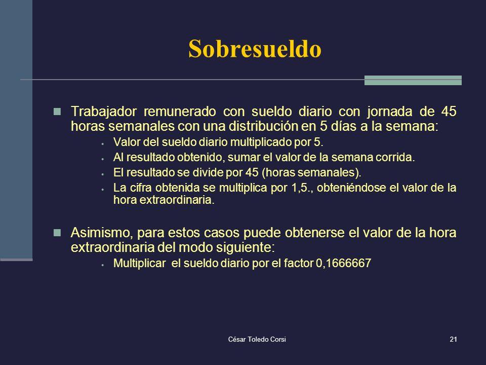 César Toledo Corsi21 Sobresueldo Trabajador remunerado con sueldo diario con jornada de 45 horas semanales con una distribución en 5 días a la semana: