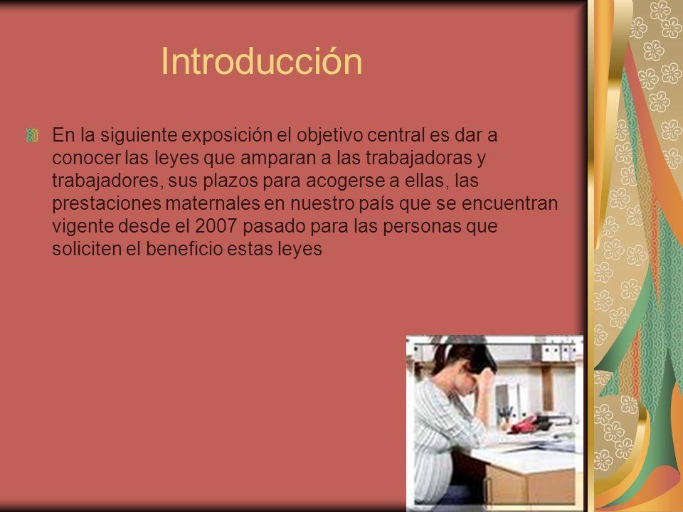 Introducción En la siguiente exposición el objetivo central es dar a conocer las leyes que amparan a las trabajadoras y trabajadores, sus plazos para