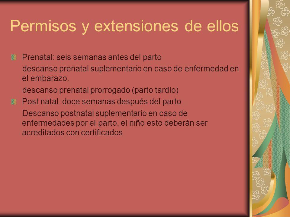 Permisos y extensiones de ellos Prenatal: seis semanas antes del parto descanso prenatal suplementario en caso de enfermedad en el embarazo. descanso