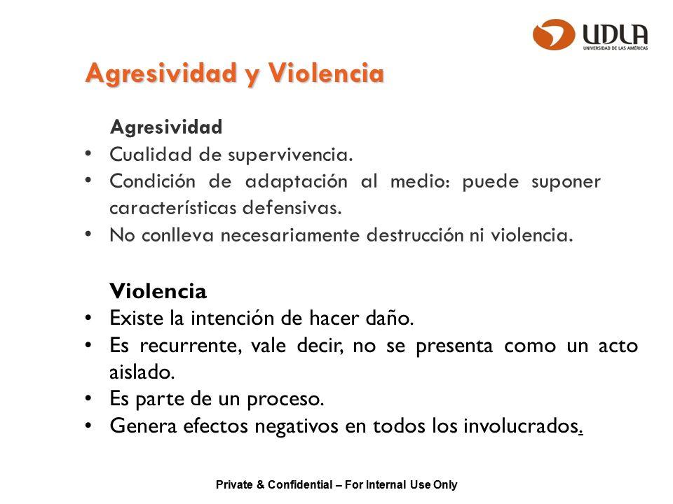 Private & Confidential – For Internal Use Only Agresividad y Violencia Agresividad Cualidad de supervivencia. Condición de adaptación al medio: puede