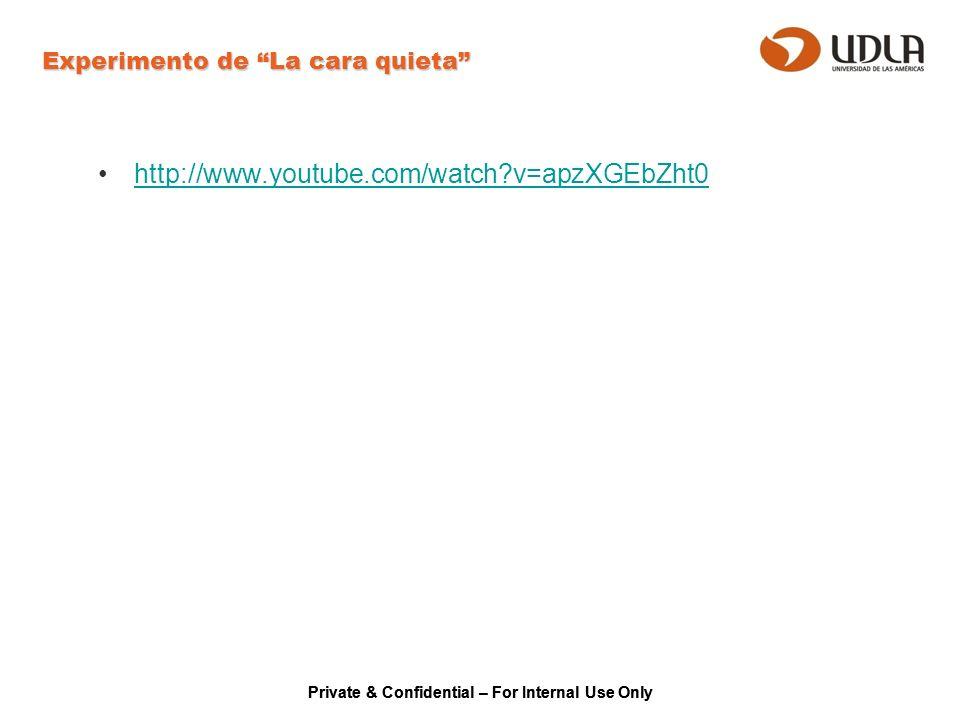 Private & Confidential – For Internal Use Only Experimento de La cara quieta http://www.youtube.com/watch?v=apzXGEbZht0