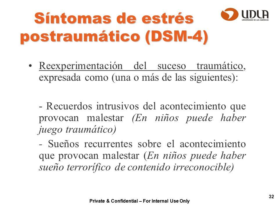 Private & Confidential – For Internal Use Only 32 Síntomas de estrés postraumático (DSM-4) Reexperimentación del suceso traumático, expresada como (un