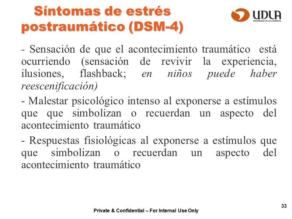 Private & Confidential – For Internal Use Only 33 Síntomas de estrés postraumático (DSM-4) - Sensación de que el acontecimiento traumático está ocurri