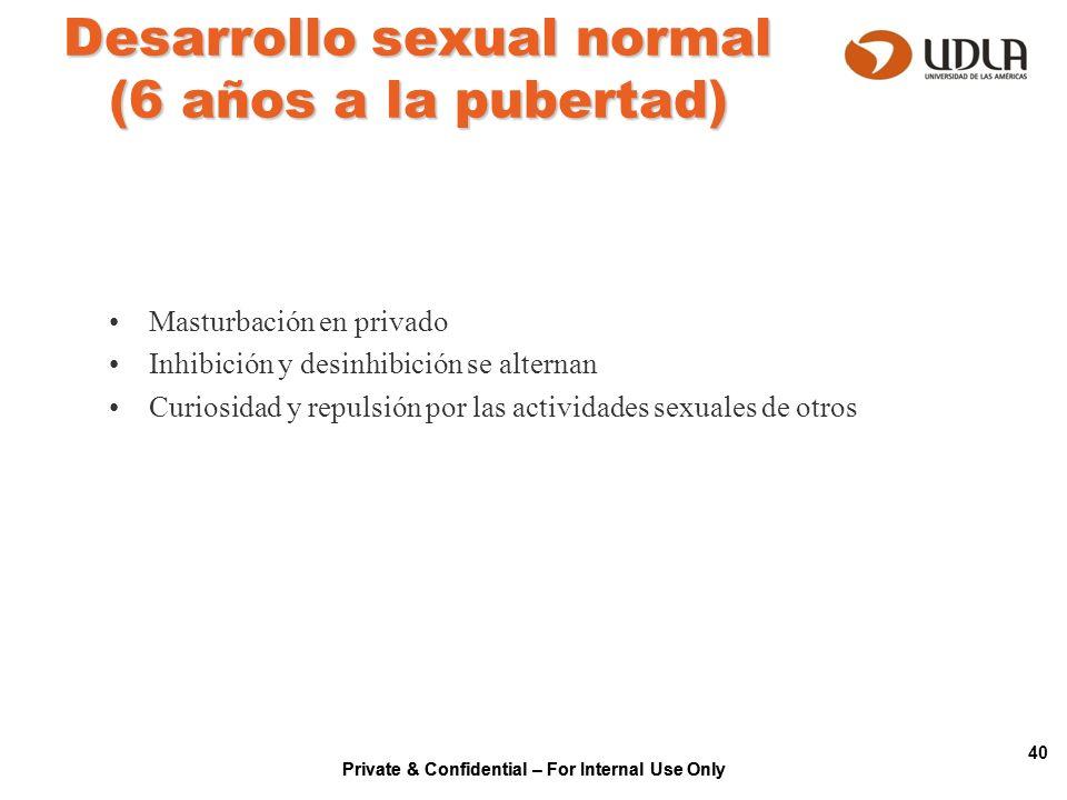 Private & Confidential – For Internal Use Only 40 Desarrollo sexual normal (6 años a la pubertad) Masturbación en privado Inhibición y desinhibición s