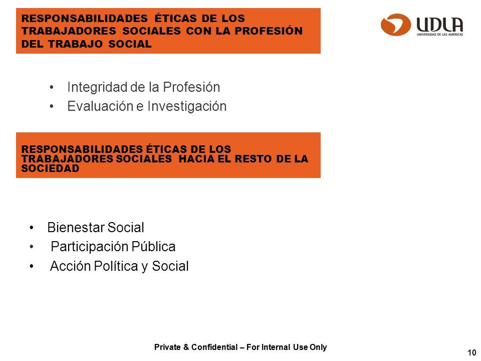 Private & Confidential – For Internal Use Only RESPONSABILIDADES ÉTICAS DE LOS TRABAJADORES SOCIALES CON LA PROFESIÓN DEL TRABAJO SOCIAL Integridad de