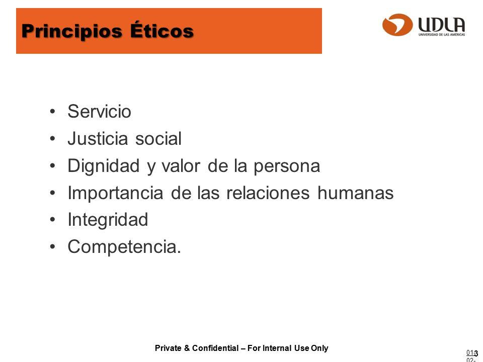 Private & Confidential – For Internal Use Only Principios Éticos Servicio Justicia social Dignidad y valor de la persona Importancia de las relaciones