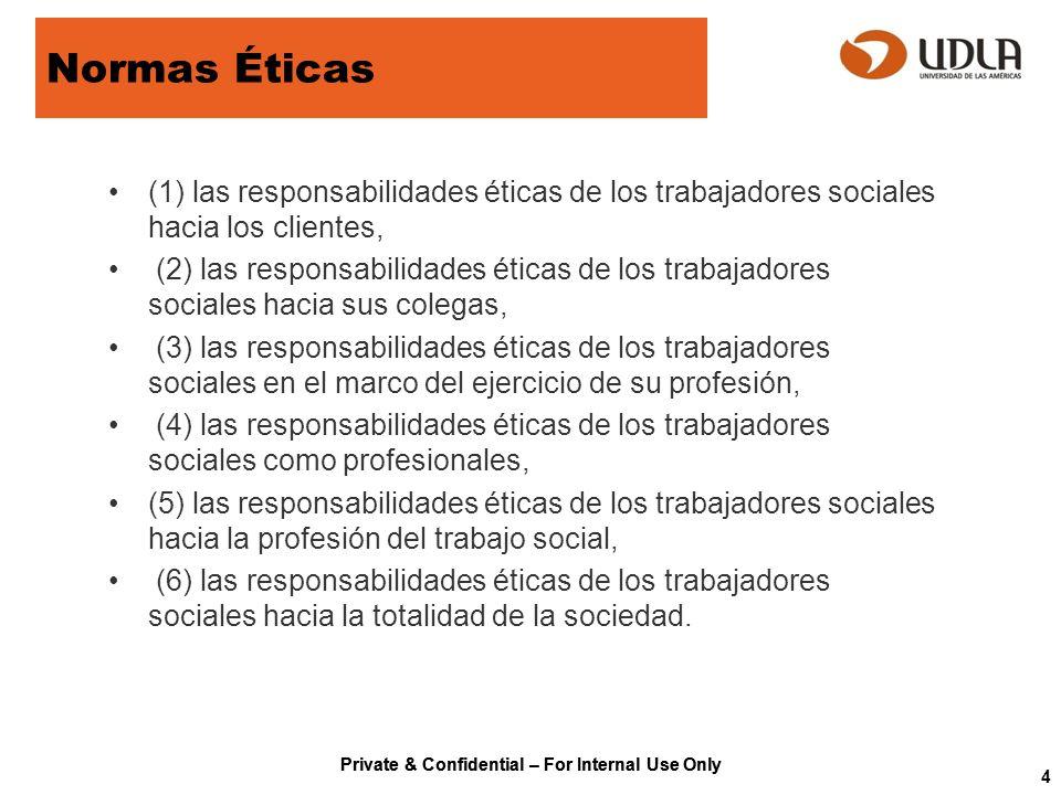 Private & Confidential – For Internal Use Only Normas Éticas (1) las responsabilidades éticas de los trabajadores sociales hacia los clientes, (2) las