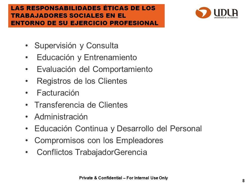 Private & Confidential – For Internal Use Only LAS RESPONSABILIDADES ÉTICAS DE LOS TRABAJADORES SOCIALES EN EL ENTORNO DE SU EJERCICIO PROFESIONAL Sup