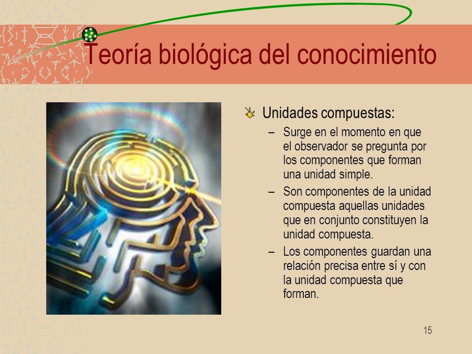 15 Teoría biológica del conocimiento Unidades compuestas: –Surge en el momento en que el observador se pregunta por los componentes que forman una uni
