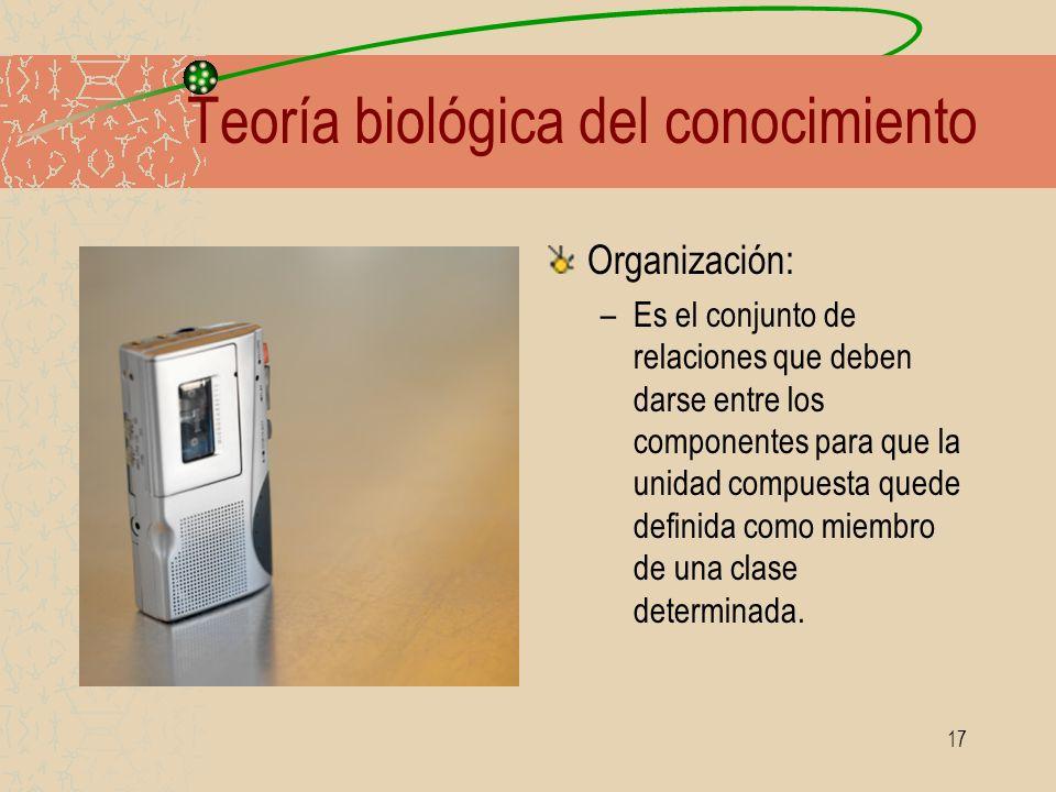 17 Teoría biológica del conocimiento Organización: –Es el conjunto de relaciones que deben darse entre los componentes para que la unidad compuesta qu