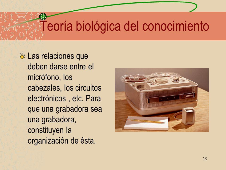 18 Teoría biológica del conocimiento Las relaciones que deben darse entre el micrófono, los cabezales, los circuitos electrónicos, etc. Para que una g