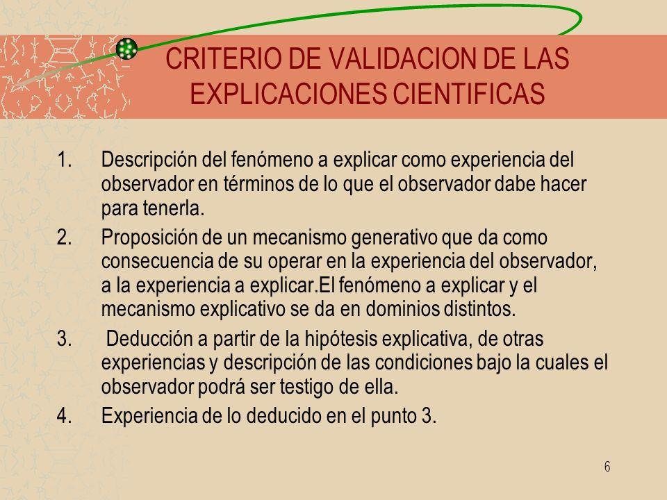 6 1.Descripción del fenómeno a explicar como experiencia del observador en términos de lo que el observador dabe hacer para tenerla. 2.Proposición de