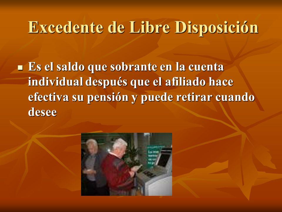 Excedente de Libre Disposición Excedente de Libre Disposición Es el saldo que sobrante en la cuenta individual después que el afiliado hace efectiva s
