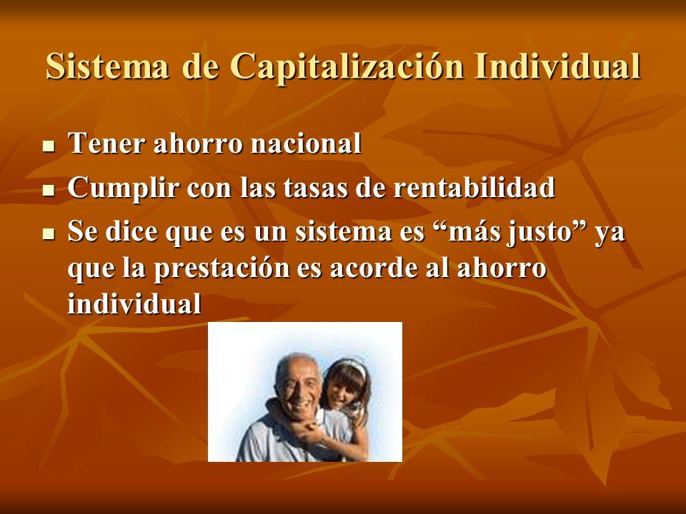 Sistema de Capitalización Individual Tener ahorro nacional Tener ahorro nacional Cumplir con las tasas de rentabilidad Cumplir con las tasas de rentab