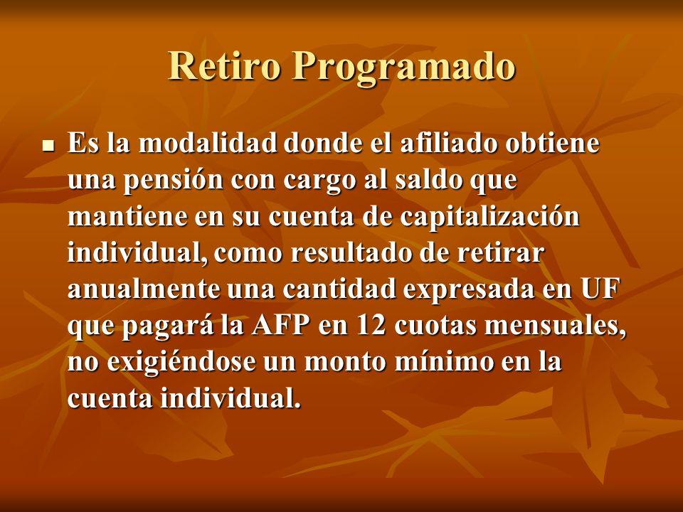Retiro Programado Es la modalidad donde el afiliado obtiene una pensión con cargo al saldo que mantiene en su cuenta de capitalización individual, com