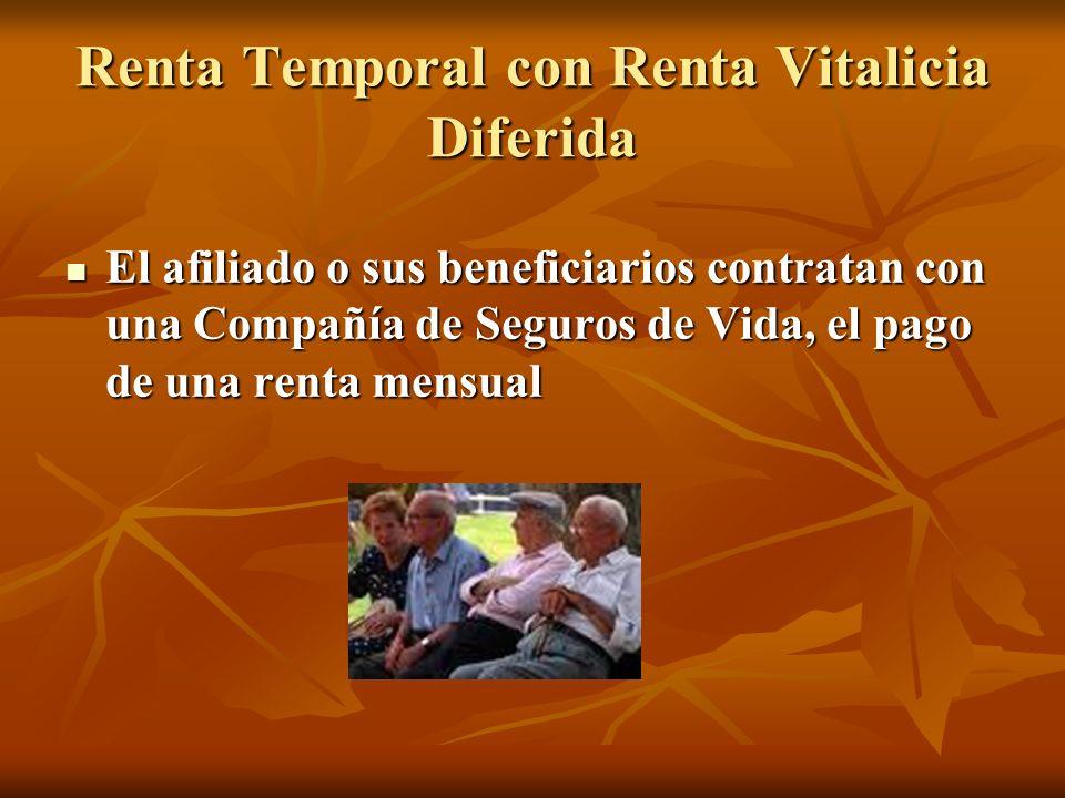 Renta Temporal con Renta Vitalicia Diferida El afiliado o sus beneficiarios contratan con una Compañía de Seguros de Vida, el pago de una renta mensua