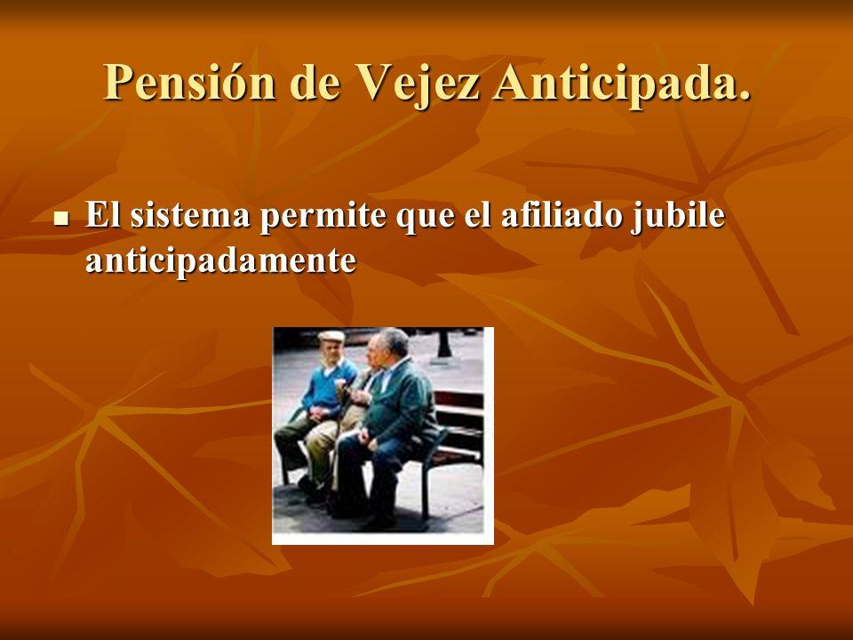 Pensión de Vejez Anticipada. El sistema permite que el afiliado jubile anticipadamente El sistema permite que el afiliado jubile anticipadamente