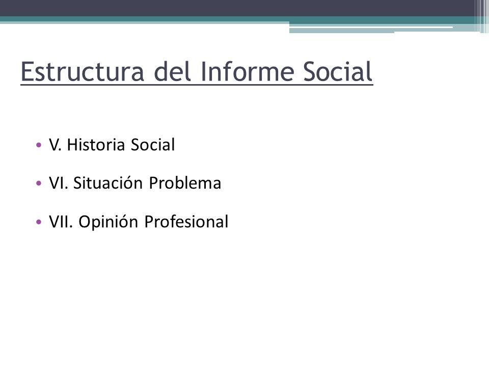 Estructura del Informe Social V. Historia Social VI. Situación Problema VII. Opinión Profesional