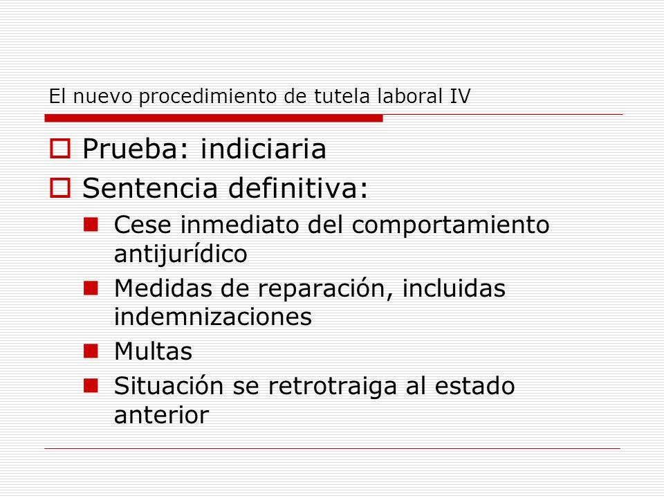 El nuevo procedimiento de tutela laboral IV Prueba: indiciaria Sentencia definitiva: Cese inmediato del comportamiento antijurídico Medidas de reparac