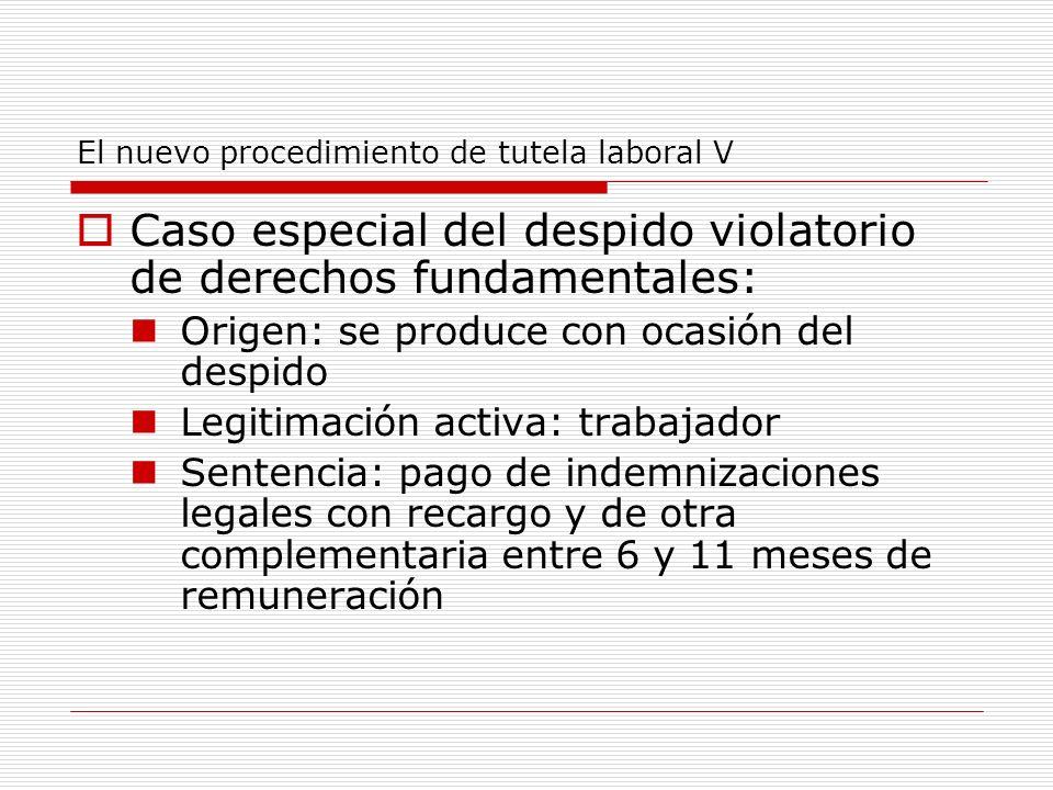 El nuevo procedimiento de tutela laboral V Caso especial del despido violatorio de derechos fundamentales: Origen: se produce con ocasión del despido