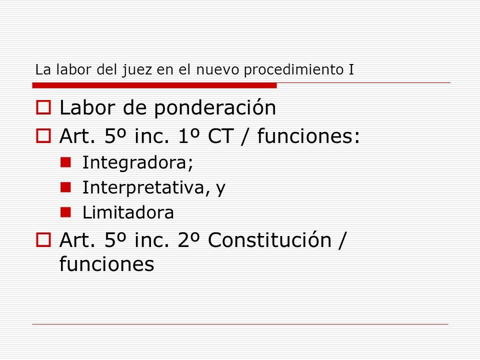 La labor del juez en el nuevo procedimiento I Labor de ponderación Art. 5º inc. 1º CT / funciones: Integradora; Interpretativa, y Limitadora Art. 5º i