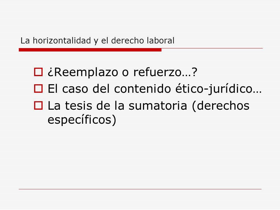 La horizontalidad y el derecho laboral ¿Reemplazo o refuerzo…? El caso del contenido ético-jurídico… La tesis de la sumatoria (derechos específicos)