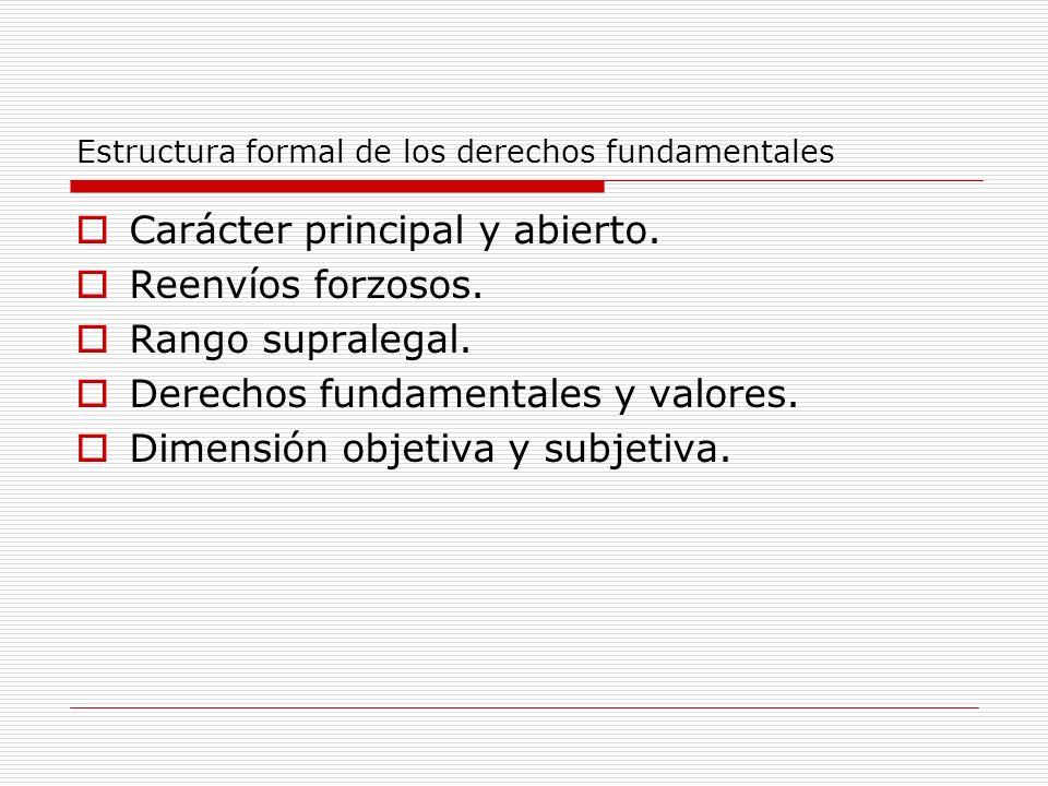 Estructura formal de los derechos fundamentales Carácter principal y abierto. Reenvíos forzosos. Rango supralegal. Derechos fundamentales y valores. D