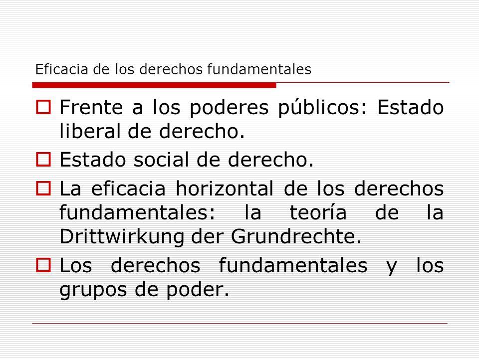 Eficacia de los derechos fundamentales Frente a los poderes públicos: Estado liberal de derecho. Estado social de derecho. La eficacia horizontal de l