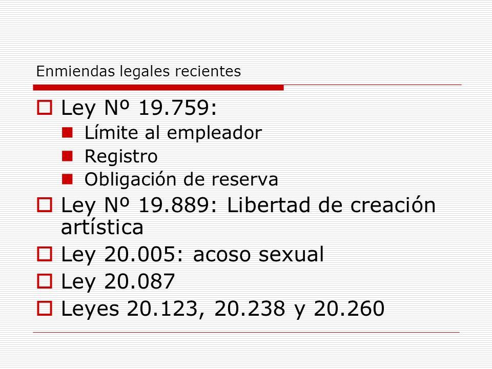 Enmiendas legales recientes Ley Nº 19.759: Límite al empleador Registro Obligación de reserva Ley Nº 19.889: Libertad de creación artística Ley 20.005