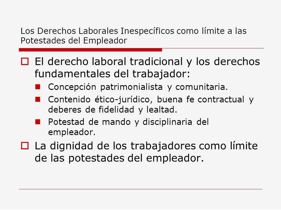 Los Derechos Laborales Inespecíficos como límite a las Potestades del Empleador El derecho laboral tradicional y los derechos fundamentales del trabaj