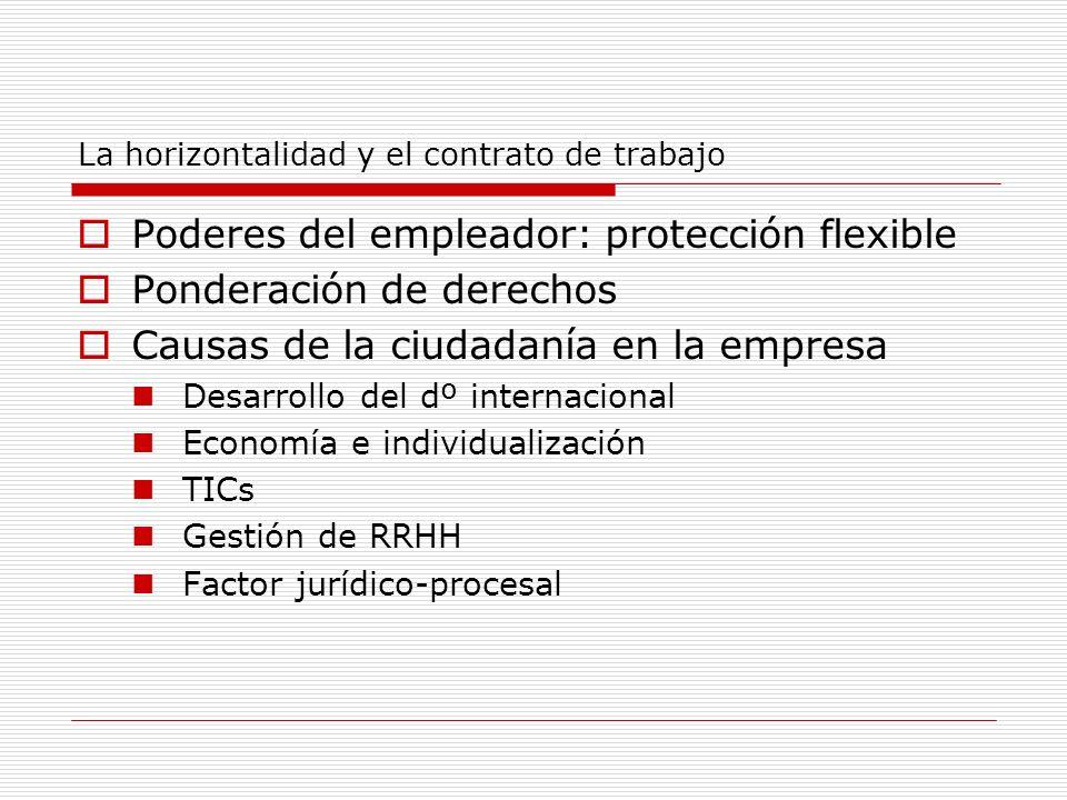 La horizontalidad y el contrato de trabajo Poderes del empleador: protección flexible Ponderación de derechos Causas de la ciudadanía en la empresa De