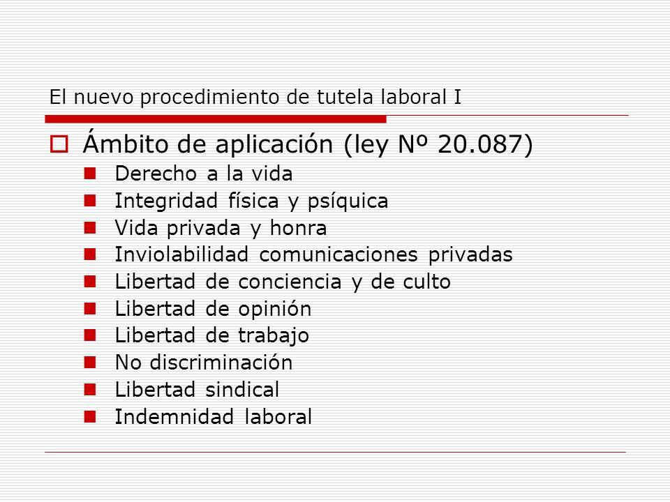 El nuevo procedimiento de tutela laboral I Ámbito de aplicación (ley Nº 20.087) Derecho a la vida Integridad física y psíquica Vida privada y honra In
