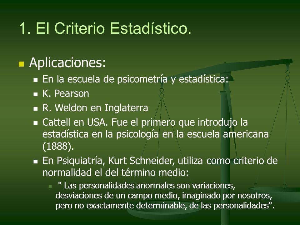 1. El Criterio Estadístico. Aplicaciones: En la escuela de psicometría y estadística: K. Pearson R. Weldon en Inglaterra Cattell en USA. Fue el primer