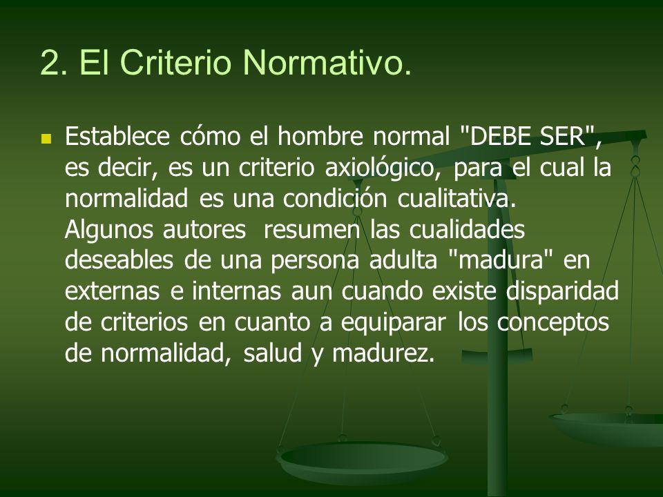 2. El Criterio Normativo. Establece cómo el hombre normal