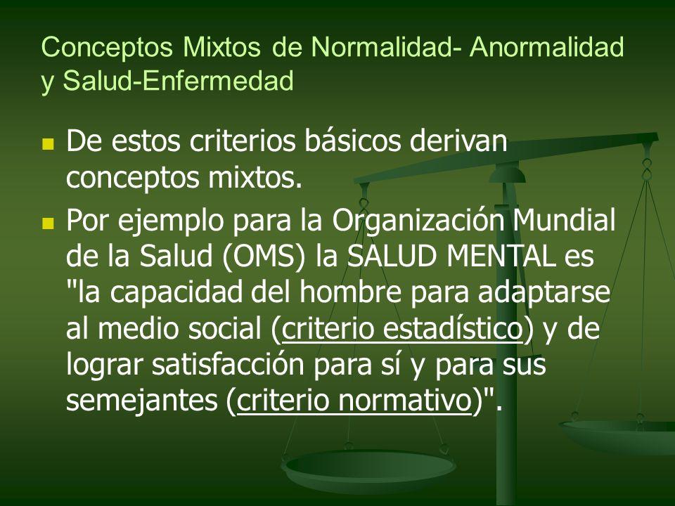 Conceptos Mixtos de Normalidad- Anormalidad y Salud-Enfermedad De estos criterios básicos derivan conceptos mixtos. Por ejemplo para la Organización M
