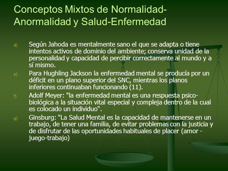 Conceptos Mixtos de Normalidad- Anormalidad y Salud-Enfermedad d) d) Según Jahoda es mentalmente sano el que se adapta o tiene intentos activos de dom