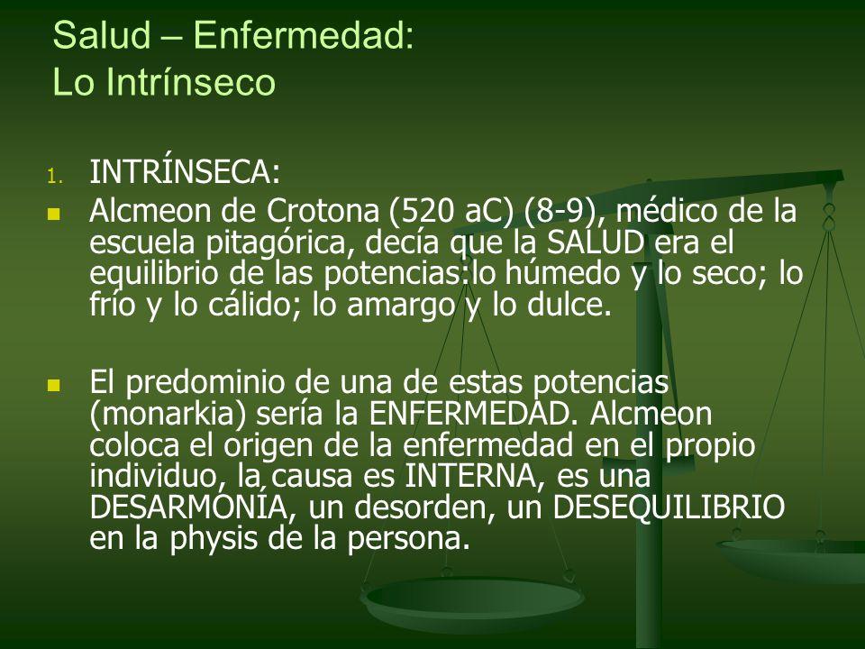 Salud – Enfermedad: Lo Intrínseco 1. 1. INTRÍNSECA: Alcmeon de Crotona (520 aC) (8-9), médico de la escuela pitagórica, decía que la SALUD era el equi