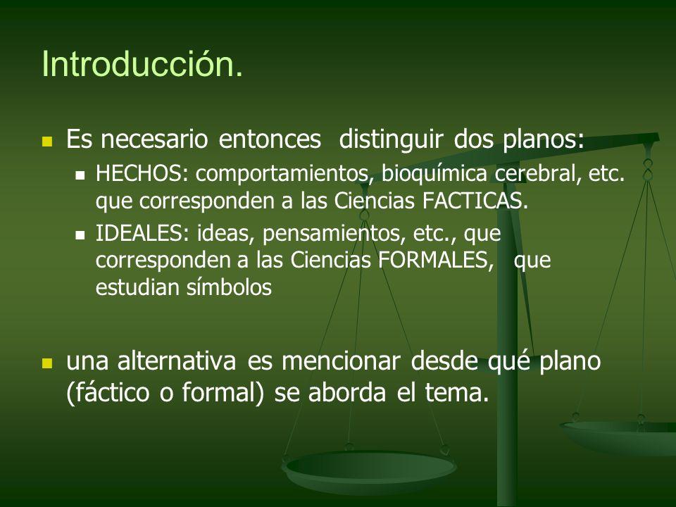 Introducción. Es necesario entonces distinguir dos planos: HECHOS: comportamientos, bioquímica cerebral, etc. que corresponden a las Ciencias FACTICAS