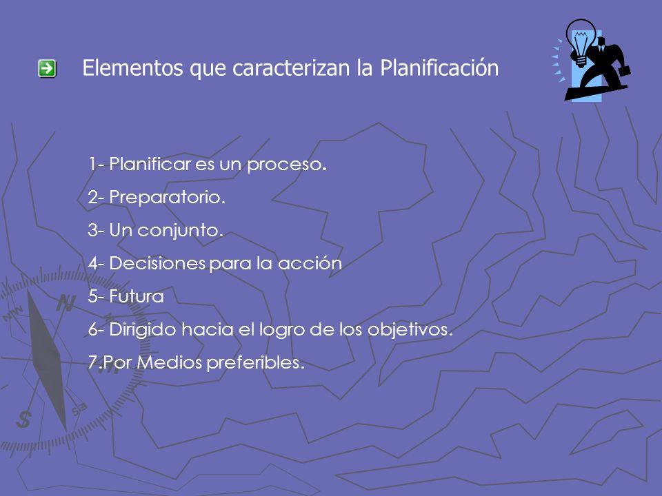 Elementos que caracterizan la Planificación 1- Planificar es un proceso. 2- Preparatorio. 3- Un conjunto. 4- Decisiones para la acción 5- Futura 6- Di