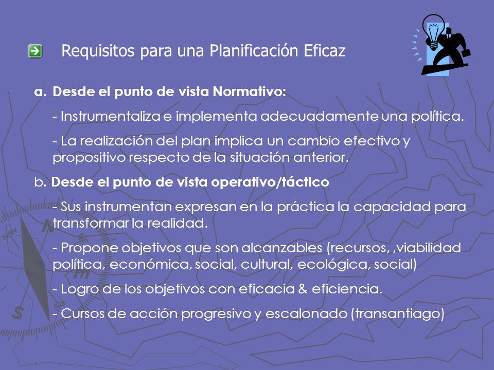 Requisitos para una Planificación Eficaz a.Desde el punto de vista Normativo: - Instrumentaliza e implementa adecuadamente una política. - La realizac