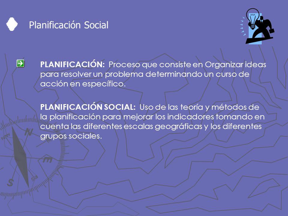 Planificación Social PLANIFICACIÓN: Proceso que consiste en Organizar ideas para resolver un problema determinando un curso de acción en específico. P