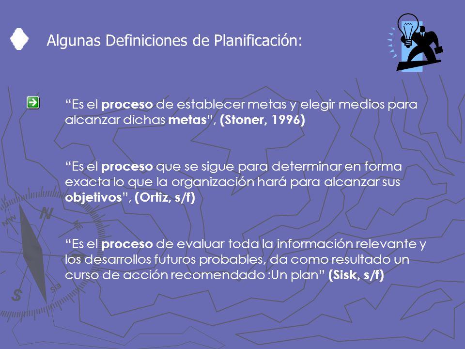 Algunas Definiciones de Planificación: Es el proceso de establecer metas y elegir medios para alcanzar dichas metas, (Stoner, 1996) Es el proceso que