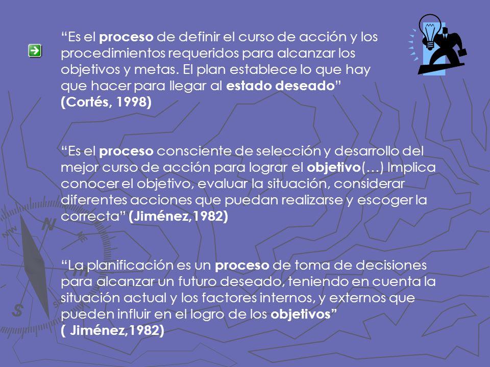 Es el proceso de definir el curso de acción y los procedimientos requeridos para alcanzar los objetivos y metas. El plan establece lo que hay que hace