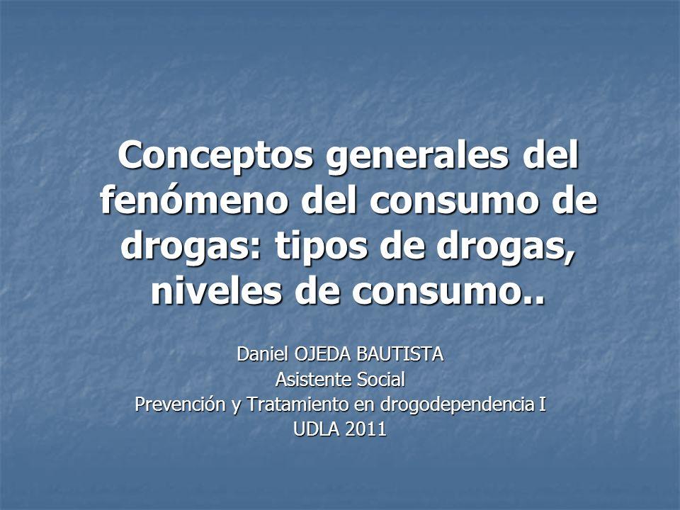 Conceptos generales del fenómeno del consumo de drogas: tipos de drogas, niveles de consumo.. Daniel OJEDA BAUTISTA Asistente Social Prevención y Trat